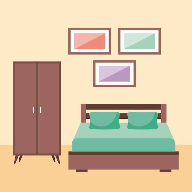 Interior del dormitorio con almohada de armario de marco de muebles ...
