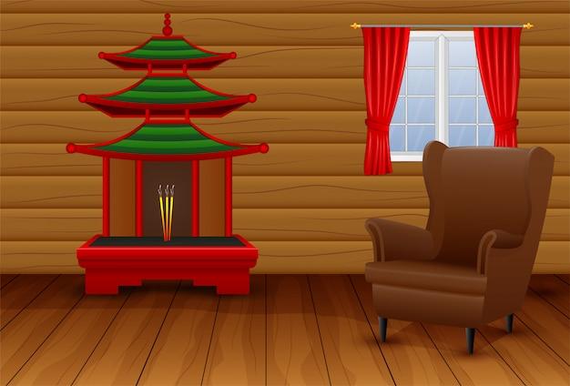 Interior de dibujos animados de la sala de estar china Vector Premium