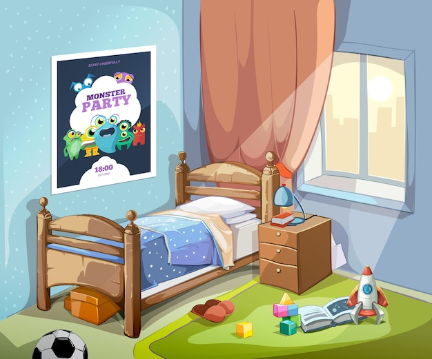 Interior de dormitorio infantil en estilo de dibujos animados con pelota de fútbol y juguetes. ilustración vectorial vector gratuito