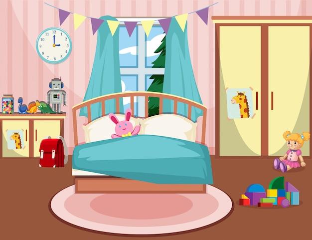 Interior del dormitorio de las niñas. vector gratuito