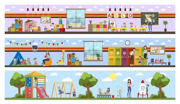 Interior del edificio de jardín de infantes o guardería con niños. los niños en edad preescolar juegan con juguetes y estudian en el aula. ilustración Vector Premium