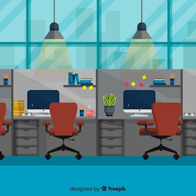 Interior elegante de oficina con diseño plano vector gratuito