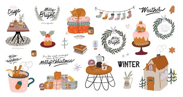 Interior escandinavo con decoraciones para el hogar de diciembre: corona, gato, árbol, regalo, velas, mesa. acogedora temporada de vacaciones de invierno. linda ilustración y tipografía navideña en estilo hygge. . . Vector Premium