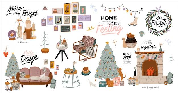 Interior escandinavo con decoraciones para el hogar en diciembre. linda ilustración y tipografía de navidad en estilo hygge. Vector Premium