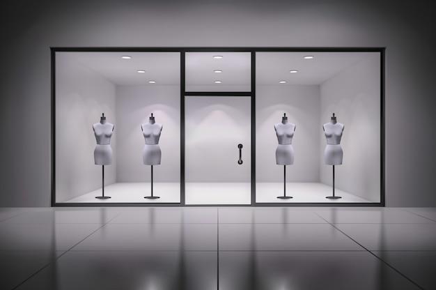 Interior de escaparate realista tienda 3d vector gratuito