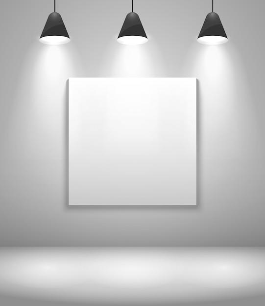 Interior de galería blanco con marco. pared y cuadro, exposición y en blanco. ilustración vectorial vector gratuito