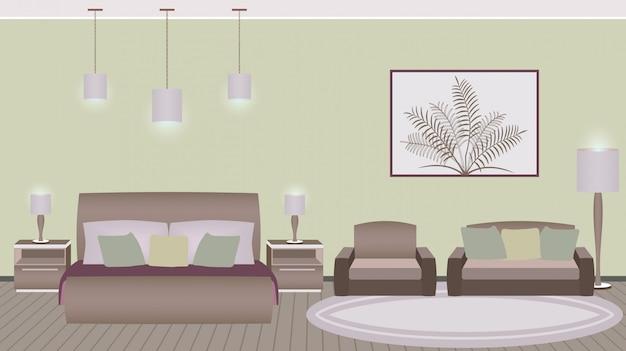 Interior de habitación de hotel de estilo clásico con muebles. Vector Premium