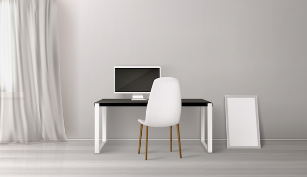 Interior de la habitación, lugar de trabajo con escritorio, asiento y pc vector gratuito
