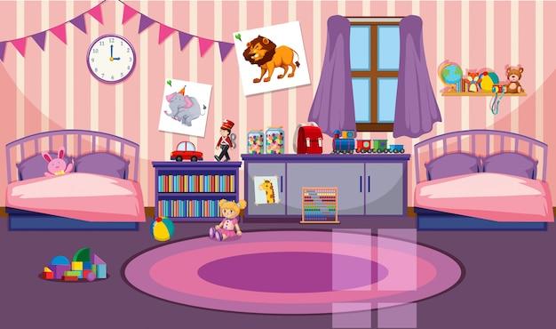 Interior de la habitación de las niñas. vector gratuito