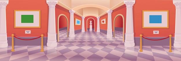 Interior de la historieta del vector de la galería de arte del pasillo del museo. Vector Premium