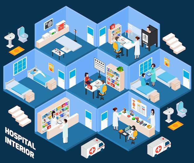 Interior isométrico del hospital vector gratuito