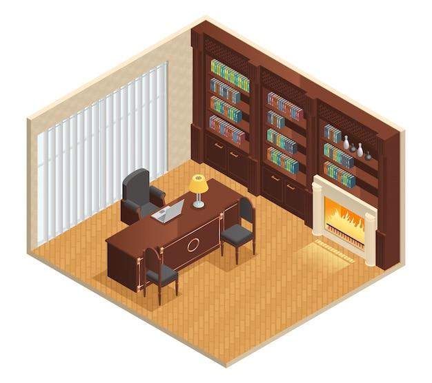Interior isométrico de lujo para estudio con mueble portatil. vector gratuito
