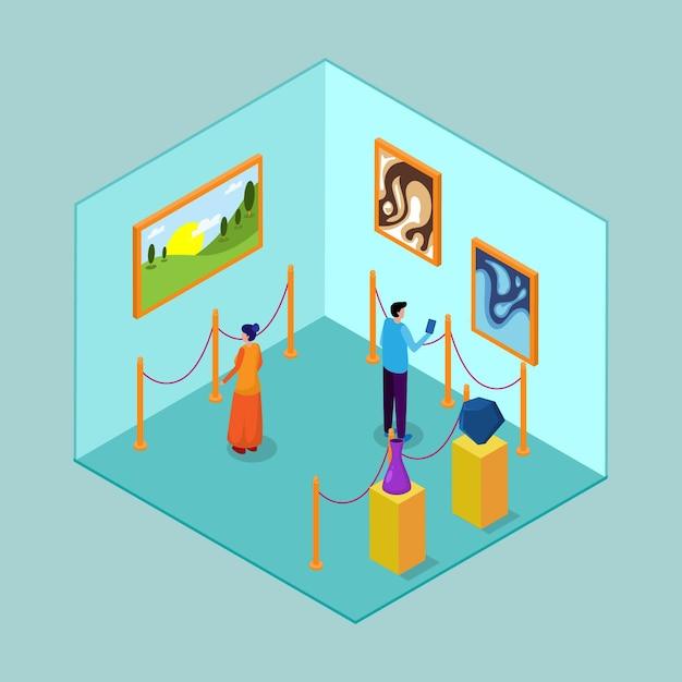 Interior isométrico del museo vector gratuito