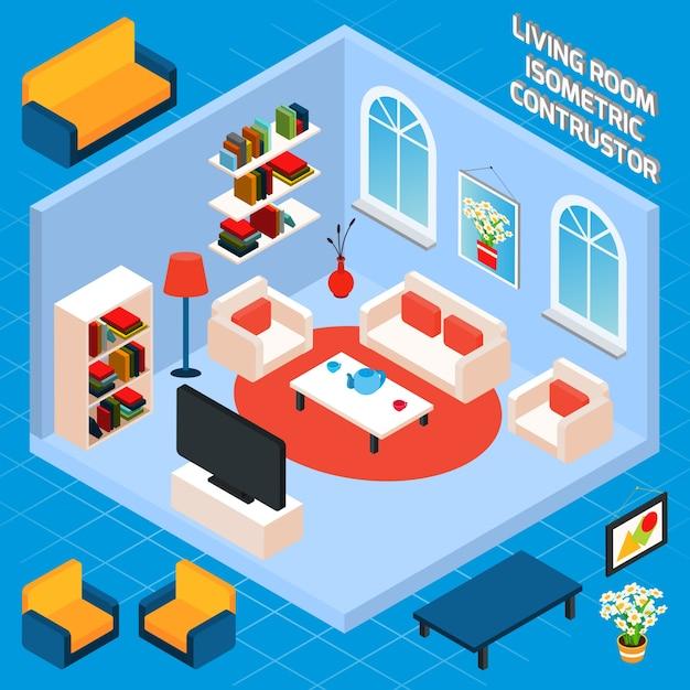 Interior isométrico de la sala de estar vector gratuito
