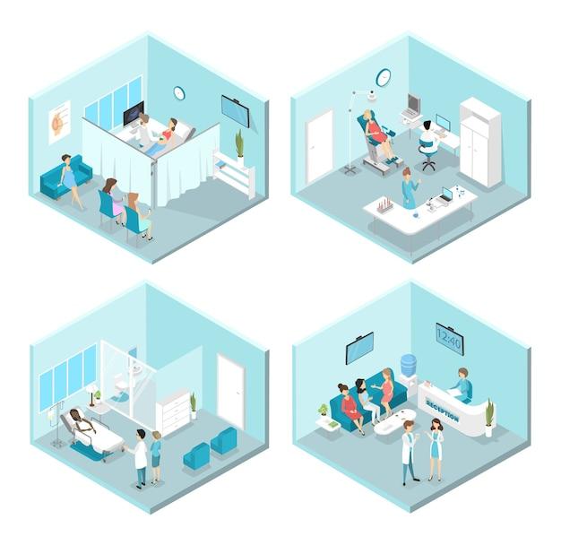 Interior isométrico de salas de ginecología: recepción, laboratorio, salas de espera y exploración. médicos y enfermeras que tratan a pacientes femeninas en el hospital. ilustración Vector Premium