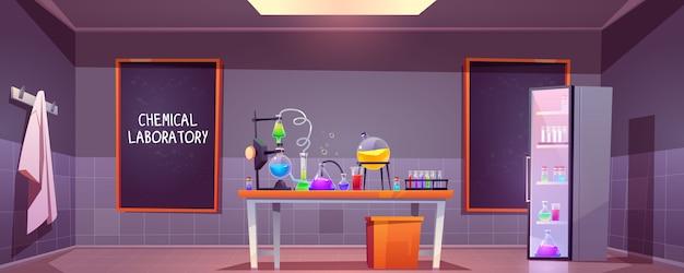 Interior de laboratorio químico con matraces de vidrio vector gratuito
