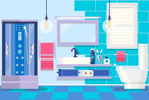 Interior moderno cuarto de baño con muebles. habitación básica del hogar. ilustración vectorial Vector Premium