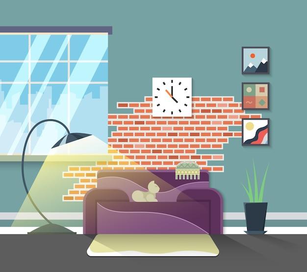 Interior moderno de la sala de estar. vector de muebles para el hogar de estilo plano. diseño de decoración del hogar, lámpara e ilustración de apartamento. vector gratuito