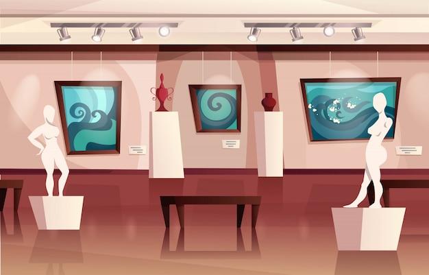 Interior del museo con obras de arte modernas en paredes, esculturas, jarrones. galería de arte con exposición. ilustración de dibujos animados Vector Premium