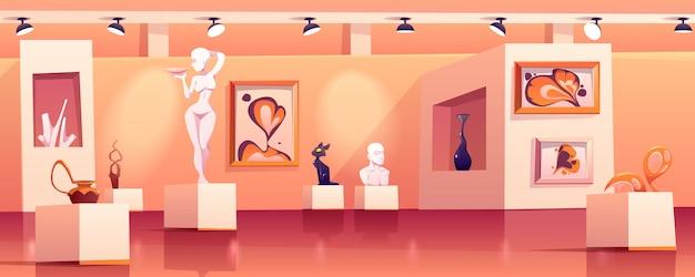 Interior del museo con obras de arte modernas vector gratuito