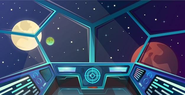Interior de la nave espacial del puente de capitanes en estilo de dibujos animados Vector Premium