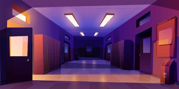 Interior de la noche del pasillo de la escuela con taquillas vector gratuito
