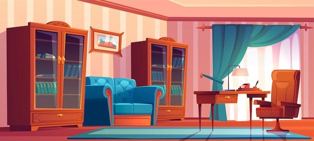 Interior de oficina en casa vintage con muebles de madera, mesa, silla, sofá y estanterías. ilustración de dibujos animados del gabinete principal vacío con cortinas azules, sofá, escritorio y pintura en la pared vector gratuito