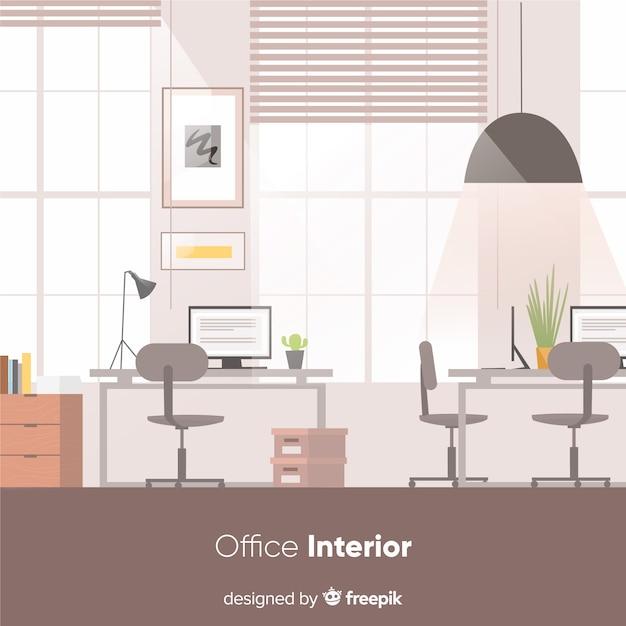 Interior de oficina elegante con diseño plano vector gratuito