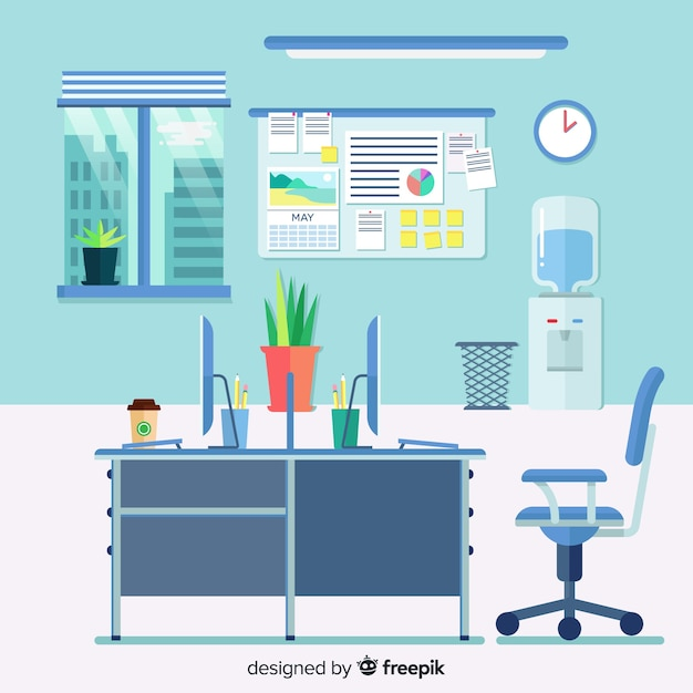 Interior de oficina moderna con diseño plano vector gratuito