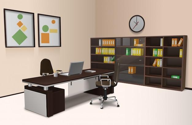 Interior de oficina realista vector gratuito