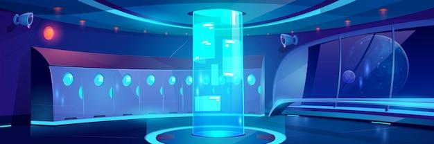 Interior de pasillo de escuela futurista en la noche Vector Premium