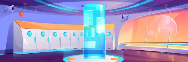 Interior del pasillo de la escuela futurista con taquillas vector gratuito