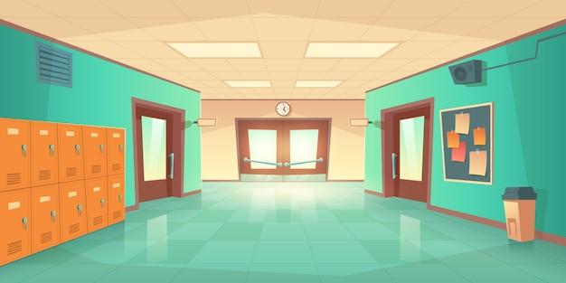 Interior del pasillo de la escuela con puertas y taquillas vector gratuito