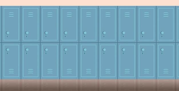 Interior del pasillo de la escuela vacía con fila de armarios horizontal plana Vector Premium