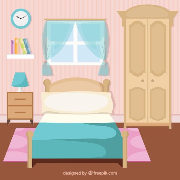 Interior precioso habitaci n descargar vectores gratis for Dormitorio animado