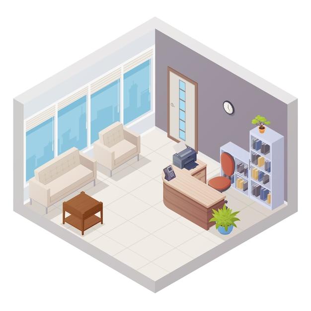 Interior de recepción de oficina isométrica con escritorio y sillas ...