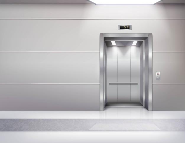 Interior de la sala de ascensor vacío realista vector gratuito