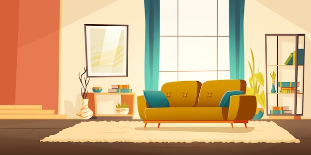 Interior de sala de estar con sofá vector gratuito