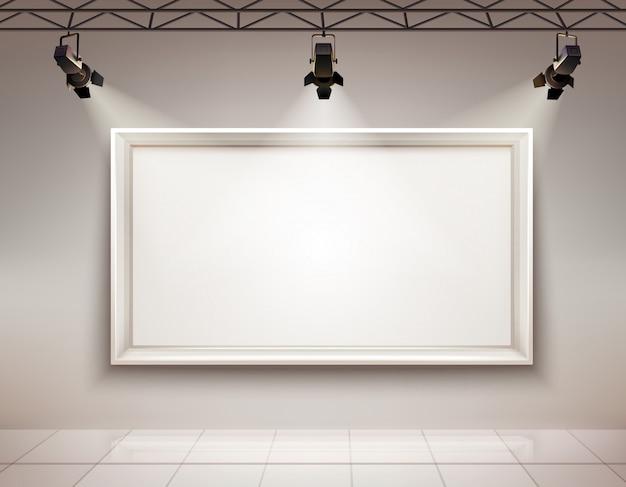 Interior de la sala de la galería vector gratuito