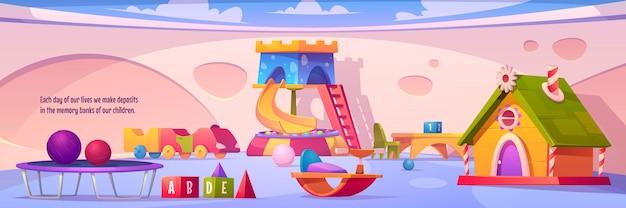 Interior de la sala de juegos para niños, patio interior vacío vector gratuito