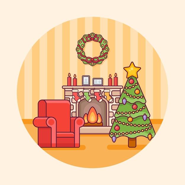 Interior de la sala de navidad con chimenea, árbol y sillón de diseño redondo. decoraciones navideñas en estilo de línea plana. Vector Premium