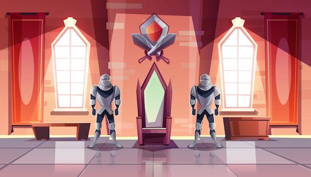 Interior de la sala del trono del castillo medieval o salón de baile con caballeros con armadura a ambos lados del rey vector gratuito