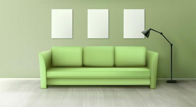 Interior con sofá verde, lámpara y carteles blancos en blanco vector gratuito