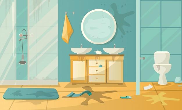 Interior sucio del cuarto de baño con ducha de lavabo y ...