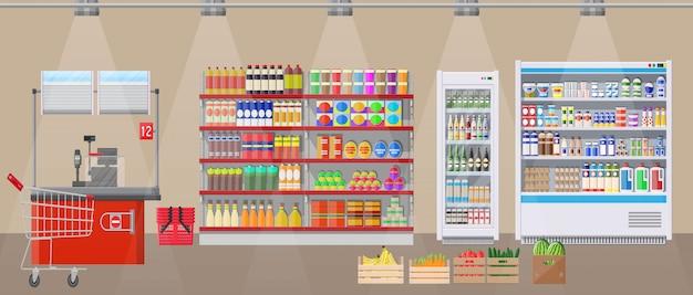 Interior de la tienda de supermercado con productos. Vector Premium