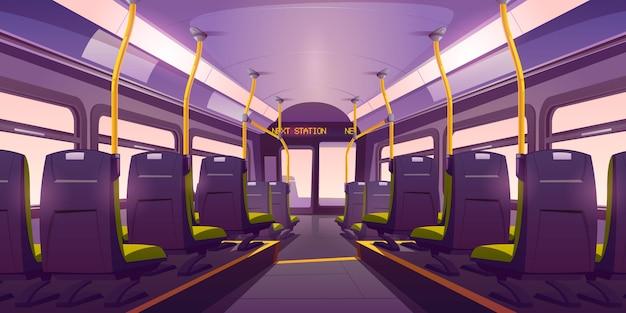 Interior vacío de autobús o tren con vista posterior de sillas vector gratuito