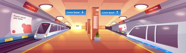 Interior de vector de dibujos animados de la estación de metro de la ciudad vector gratuito