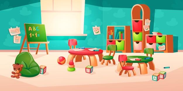 Interior de vector de habitación en jardín de infantes montessori vector gratuito