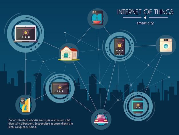 Internet de las cosas iot automotriz red inteligente ciudad red composición retro con paisaje urbano de noche vector gratuito