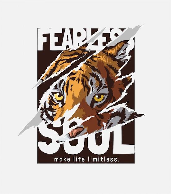Intrépido eslogan del alma con tigre arrancado ilustración Vector Premium